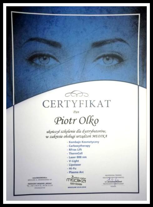 Certyfikat autoryzowanego Dystrybutora i Przedstawiciela Medika Poland